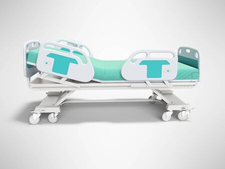 Turquoise hospital bed with lifting mechanism on an autonomous control panel right side view 3D render on gray background with shadow Banque d'images - 133673559