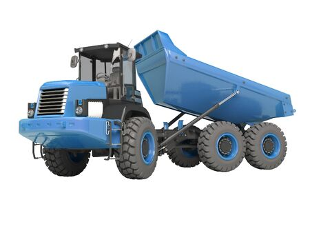 Construction machinery blue dump truck unloads from the trailer 3d rendering on white background no shadow Stock Photo