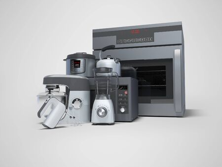 Kitchen electrical appliances built into group of electric oven blender electric kettle microwave 3d rendering on gray background with shadow Standard-Bild - 133673584
