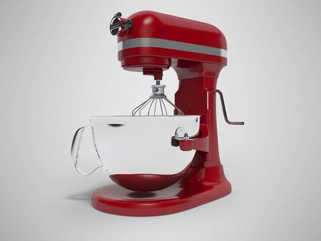 Mechanical blender for the kitchen 3d rendering on gray background with shadow Standard-Bild - 133673591