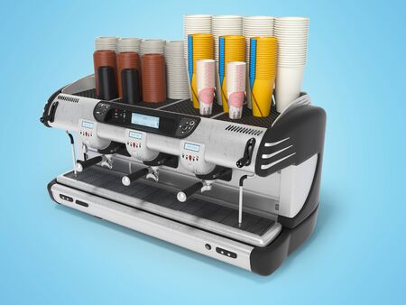 Concept professional coffee machine with paper cups 3d rendering on blue background with shadow Фото со стока