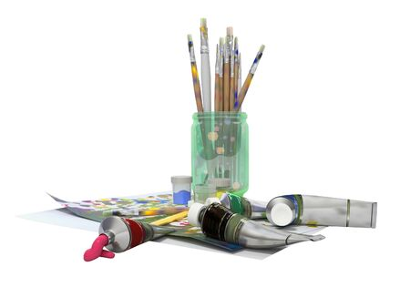 Set of artist tubes with paint brushes paper for drawing 3d rendering on white background no shadow Фото со стока