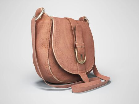 Leather old women bag over the shoulder 3d rendering on gray background with shadow Фото со стока