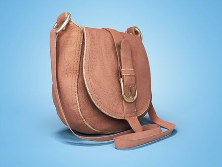 Leather old women bag over the shoulder 3d rendering on blue background with shadow