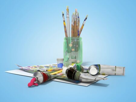 Set of artist tubes with paint brushes paper for drawing 3d rendering on blue background with shadow