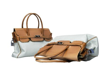 Female old bag with leather handles 3d rendering on white background no shadow