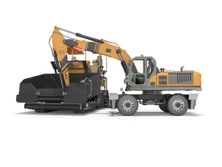 Construction road machinery loading wheeled excavator on an asphalt paver 3d rendering on white background with shadow