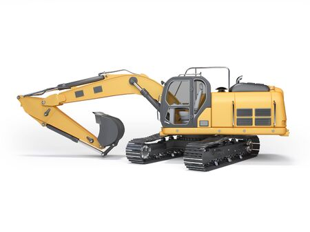 Construction machinery orange excavator with folded hydraulic shovel 3d rendering on white background with shadow
