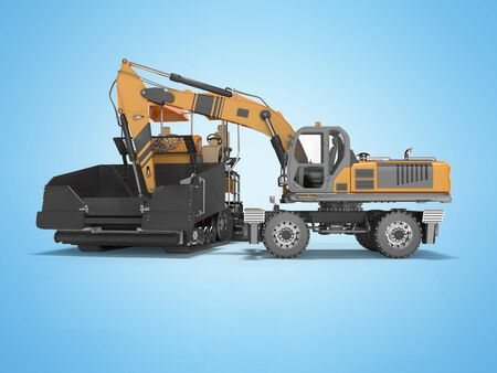 Construction road machinery loading wheeled excavator on an asphalt paver 3d rendering on blue background with shadow
