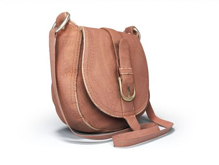 Leather old women bag over the shoulder 3d rendering on white background with shadow