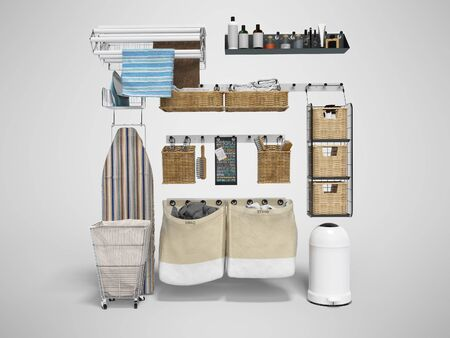 Organizer for the bathroom 3d rendering on gray background with shadow