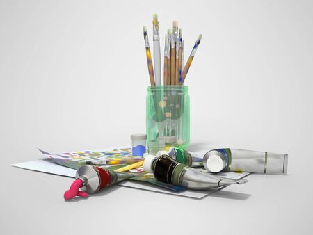 Set of artist tubes with paint brushes paper for drawing 3d rendering on gray background with shadow
