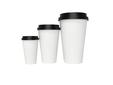 Paper cup with lid for coffee 3d rendering on white background no shadow