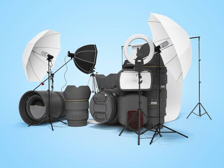 Concept of studio equipment softboxes photo umbrella photo camera photo lens ring light 3d rendering on blue background with shadow