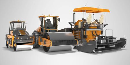 Concept paver large construction roller and small road roller 3d rendering on gray background with shadow