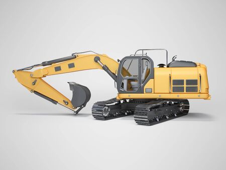 Construction machinery orange excavator with folded hydraulic shovel 3d rendering on gray background with shadow