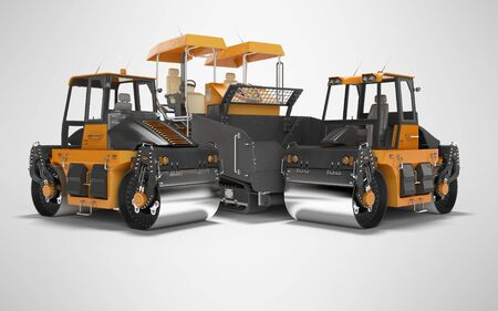 Construction road machinery two road roller and paver 3d rendering on gray background with shadow Фото со стока