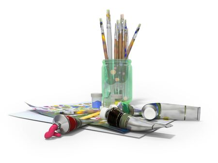 Set of artist tubes with paint brushes paper for drawing 3d rendering on white background with shadow