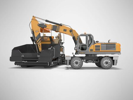Construction road machinery loading wheeled excavator on an asphalt paver 3d rendering on gray background with shadow