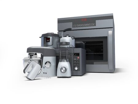 Kitchen electrical appliances built into group of electric oven blender electric kettle microwave 3d rendering on white background with shadow