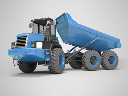 Construction machinery blue dump truck unloads from the trailer 3d rendering on gray background with shadow Фото со стока