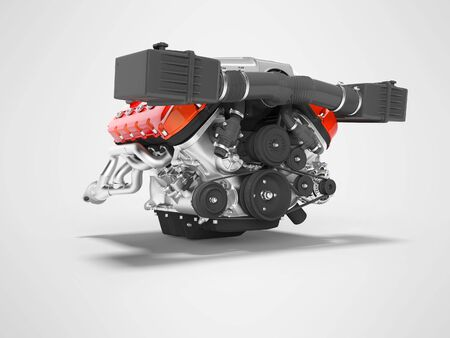 Engine for car assembly 3D render on gray background with shadow