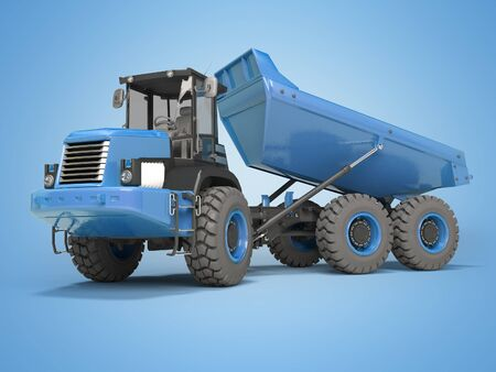 Construction machinery blue dump truck unloads from the trailer 3d rendering on blue background with shadow Stock Photo - 133673897