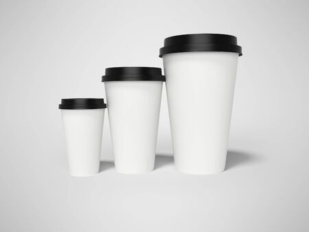 Paper cup with lid for coffee 3d rendering on gray background with shadow