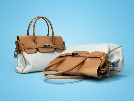 Female old bag with leather handles 3d rendering on blue background with shadow