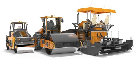 Concept paver large construction roller and small road roller 3d rendering on white background with shadow