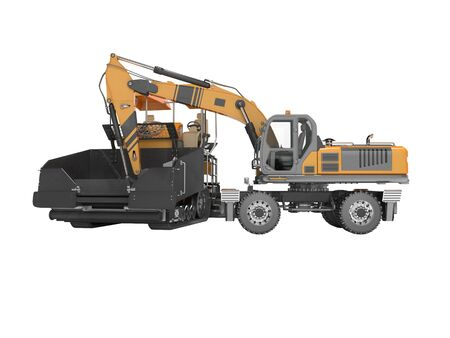 Construction road machinery loading wheeled excavator on an asphalt paver 3d rendering on white background no shadow