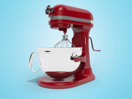 Mechanical blender for the kitchen 3d rendering on blue background with shadow Фото со стока