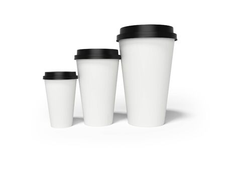 Paper cup with lid for coffee 3d rendering on white background with shadow