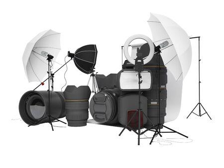 Concept of studio equipment softboxes photo umbrella photo camera photo lens ring light 3d rendering on white background no shadow Фото со стока