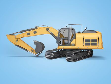 Construction machinery orange excavator with folded hydraulic shovel 3d rendering on blue background with shadow Фото со стока