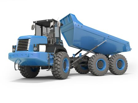 Construction machinery blue dump truck unloads from the trailer 3d rendering on white background with shadow Banco de Imagens
