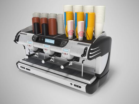 Concept professional coffee machine with paper cups 3d rendering on gray background with shadow