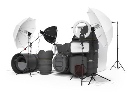 Concept of studio equipment softboxes photo umbrella photo camera photo lens ring light 3d rendering on white background with shadow