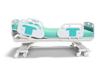 Turquoise hospital bed with lifting mechanism on an autonomous control panel right side view 3D render on white background with shadow Banque d'images - 133674118