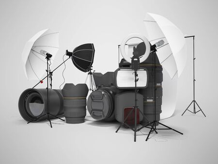 Concept of studio equipment softboxes photo umbrella photo camera photo lens ring light 3d rendering on gray background with shadow