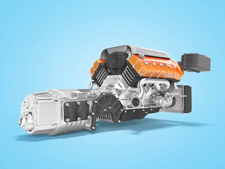 Engine for car assembly with gearbox rear view 3D render on blue background with shadow Zdjęcie Seryjne