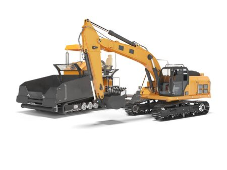 Equipment repair paver crawler and crawler excavator 3D rendering on white background with shadow Stock Photo