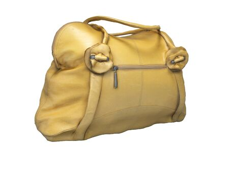 Yellow women bag with short handles 3D rendering on white background no shadow