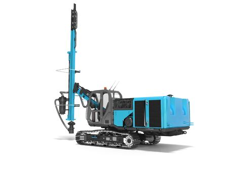 Big construction machinery crawler mounted rotary drilling rig blue 3D rendering on white background with shadow