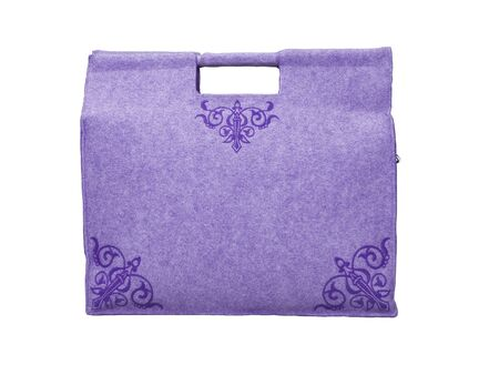 3D rendering purple bag for shopping in store on white background no shadow 写真素材