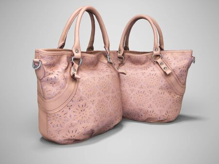 3D rendering of group of beige bag with knotted bag with two handles on gray background with shadow