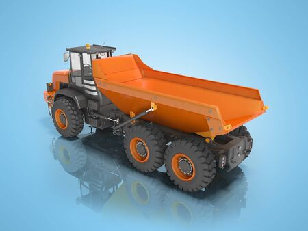 3D rendering orange dump truck on blue background with shadow Imagens