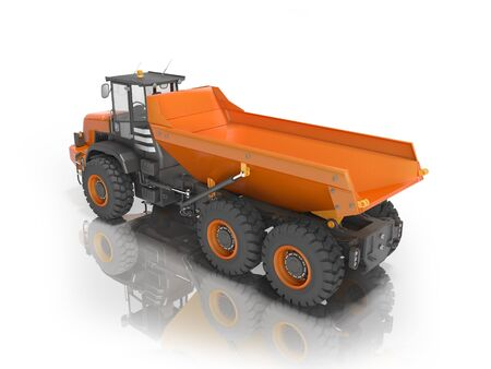 3D rendering orange dump truck on white background with shadow