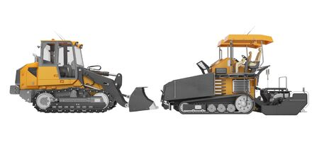 Road construction machinery crawler paver and caterpillar bulldozer side view 3D rendering on white background no shadow