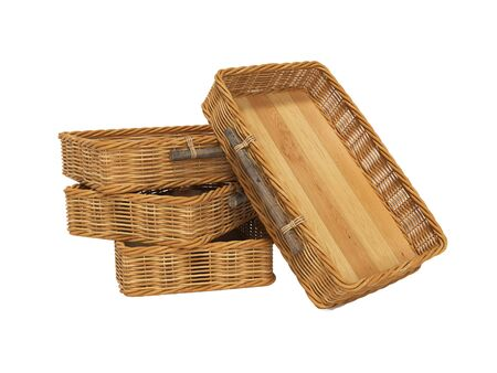 3d rendering of group of wicker wooden baskets on white background no shadow